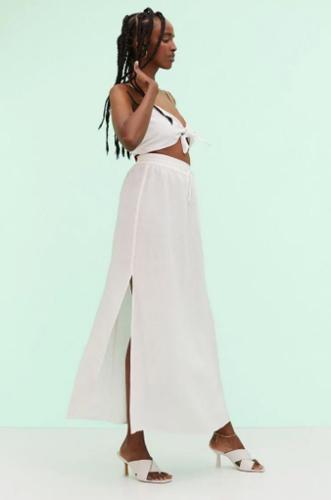 Long linen-blend skirts