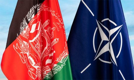 Afghanistan and NATO flags