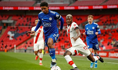 Mali star Moussa Djenepo (R) playing for Southampton against Leicester City in an FA Cup semi-final