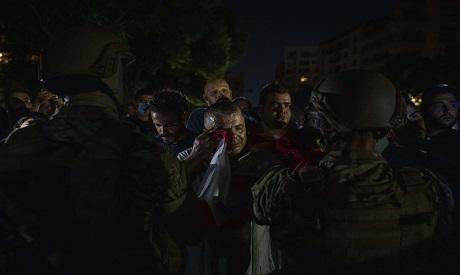 Lebanese protester crying