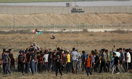 Palestinians protesting at border in Gaza