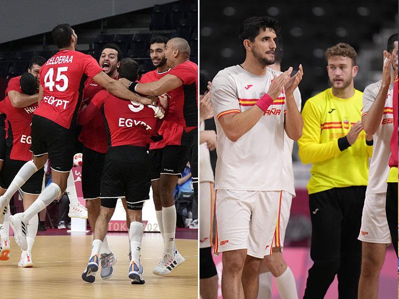 Egyptian and Spanish handball teams