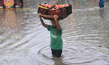 Flooded streets in Pakistan