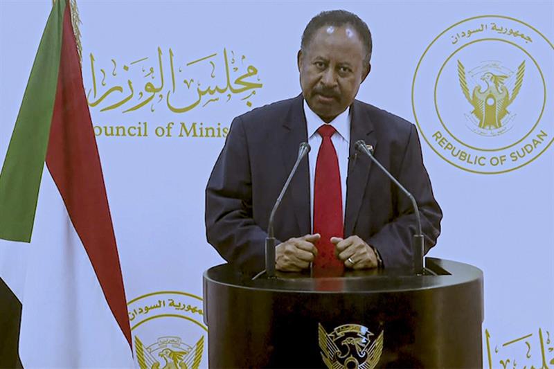 New In this photo taken from video, Abdalla Adam Hamdok, Prime Minister of the Sudan, remotely addre
