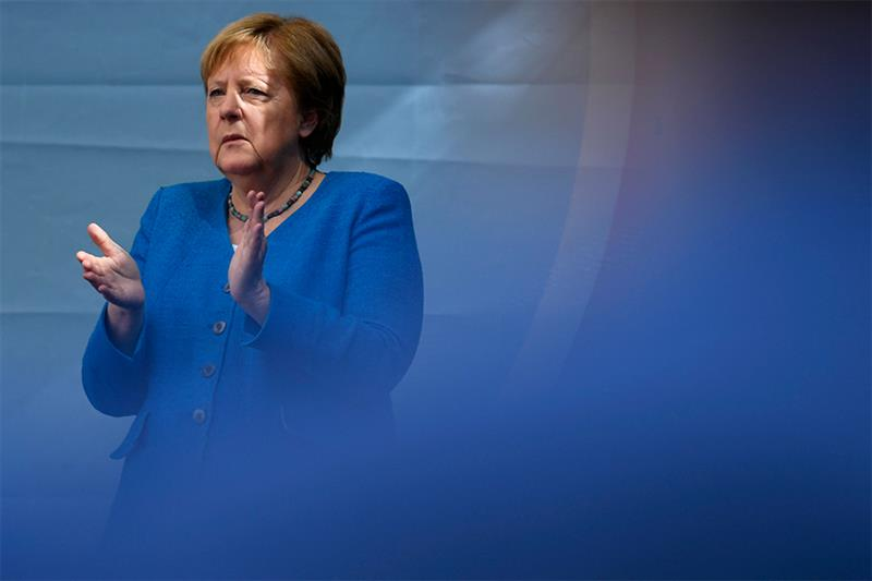 German Chancellor Angela Merkel applauds during a campaign rally for Christian Democratic Union CDU