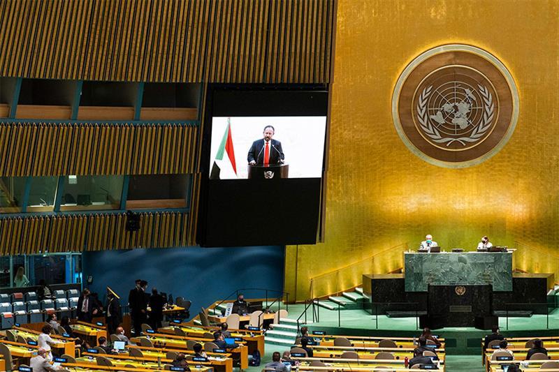 Sudan s Prime Minister Abdalla Hamdok remotely addresses the 76th Session of the U.N. General Assemb
