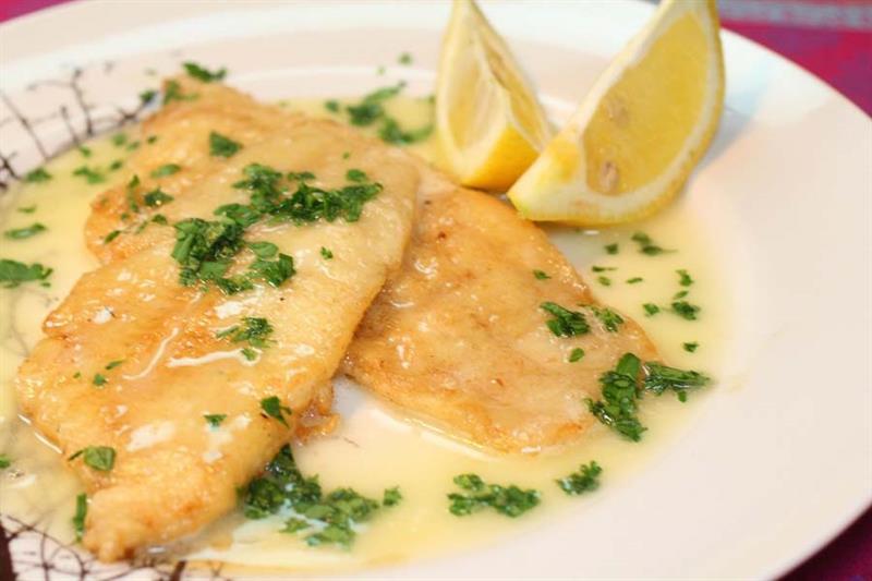 Fish fillets in lemon parsley butter sauce