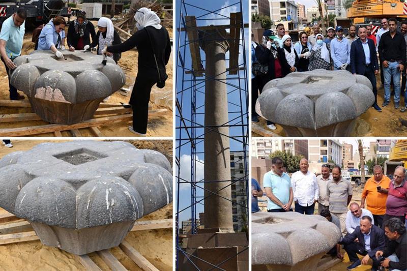 Granite column under restoration process
