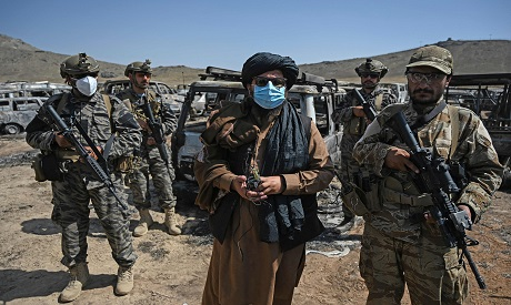 Members of the Taliban Badri 313 military unit northeast of Kabul. AFP